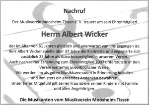 Nachruf Albert Wicker